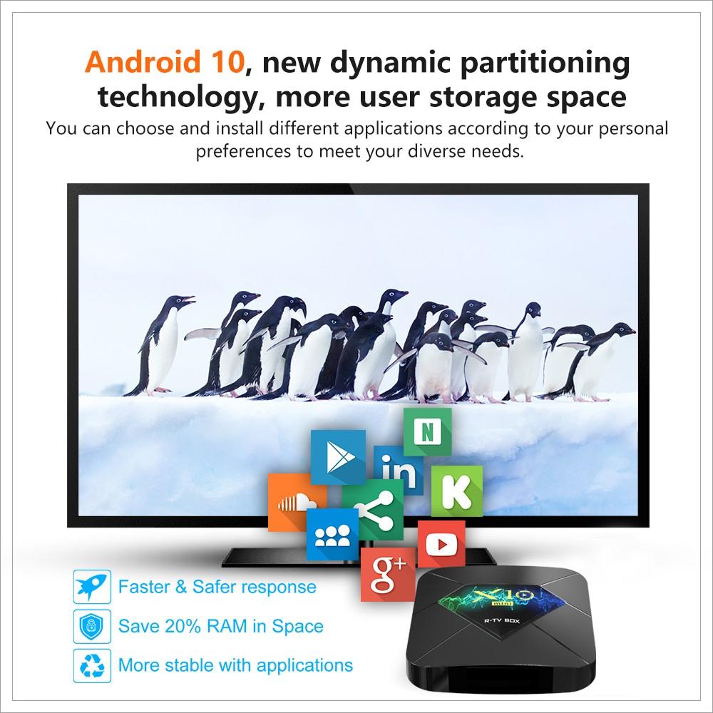 2020 Newest Android tv box R-TV BOX X10 mini 1gb 8gb 2gb 16gb Allwinner H313 Quad Core wifi Android 10 TV Box