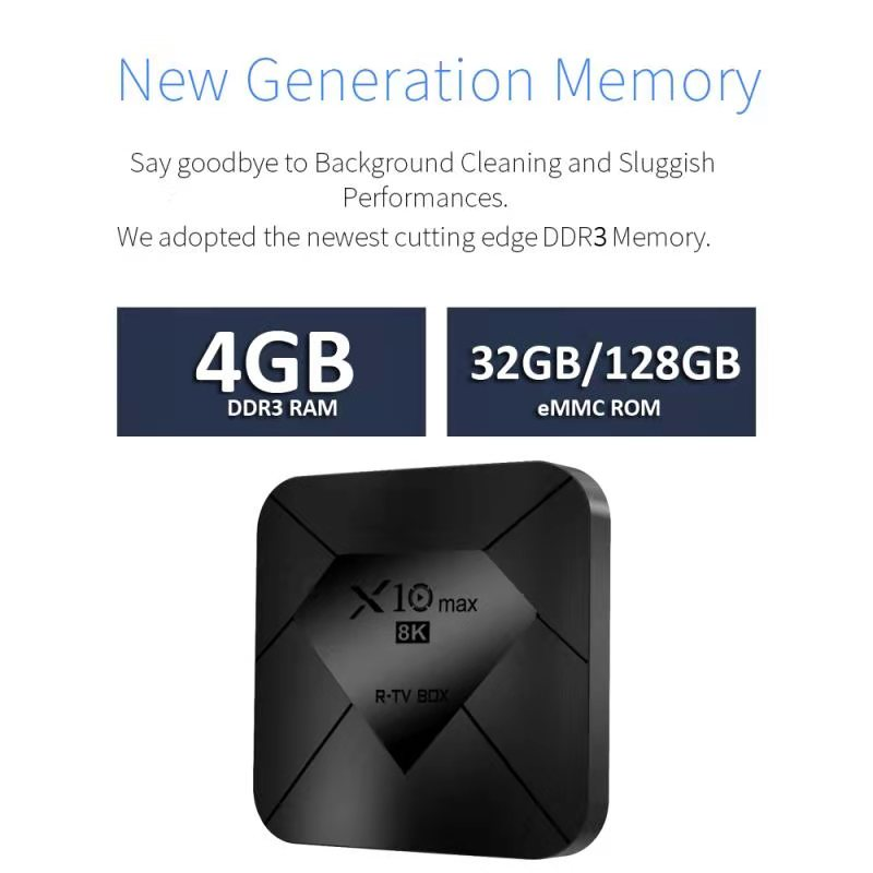 Amlogic s905x3 smart Android tv box 4gb 128gb rom R-TV BOX X10 MAX